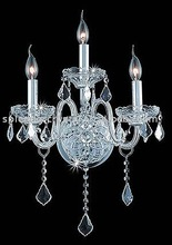 3 Lights Silver Finish Candlebra Crystal Wall Light