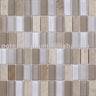 white glass mix travetino marble mosaic tile