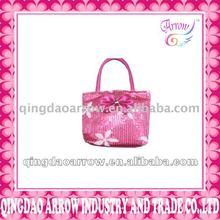 Lady's Fashion Rose PU Handbag With Sequin