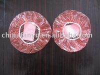 disposable waterproof red PE plastic shower caps