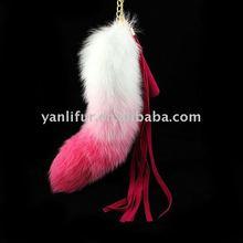 14''-18'' nenuine nice pink fur fox tail key chain fit bag huge