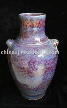 purple glazed ceramic vase with two ears WRYMJ03