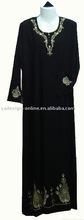 C021 popular high quality embroid black arabic muslim abaya