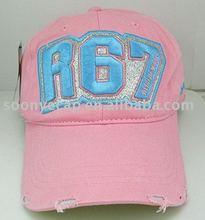 Custom baseball cap with frayed peak
