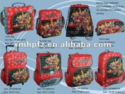 Cartoon Student School Bags Set with Trolley Bag, Student Lunch Bag