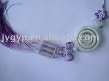 jade hanging drop with purple tassels