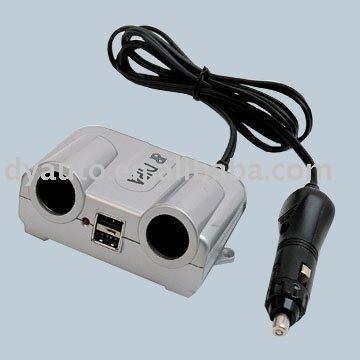 ثنائي شاحن سيارة USB مع التوأم 12V/24V سيارة مقبس ولاعة السجائر