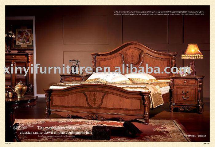 clásico de madera de la cama king size fa718