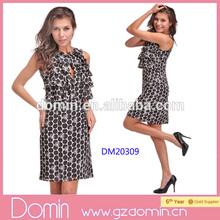 New Arrival Ladies Fashion Dot Printed Ruffle Chiffon Dress