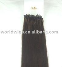 22inch long micro rings/ loop wavy hair extensions #2 dark brown