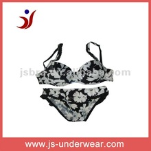 hot selling printed ladies nylon bra and panties set