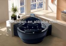 black acrylic bathtub 2-3 person whirlpool spa bathtub indoor bathroom use