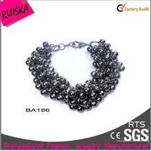 2015 Unique Fashion Design Black Beads Chain bangle