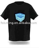 Music Activated Flashing EL T-Shirt/ el sound sensor t-shirt