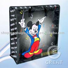 Mickey Mouse handlebag pp woven zip shopping bag(Gre-1795)