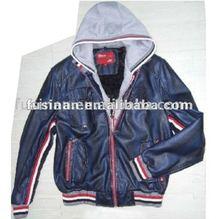 2012 men's new style gradually changing knitting hooded imitation leather single face jacket