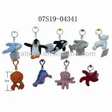 sea animal/sealion/dolphin/shark/whale/starfish/octopus/sea horse/penguin/crab plush keychain