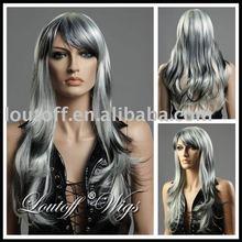 wholesale 100% kanekalon 2014 new fashion 24'' long gray mixed wavy women wig with bangs