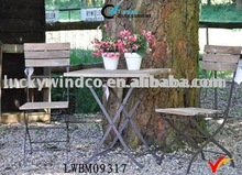 Slatted Farm Style Vintage Bistro Wood and Metal Table Chair Garden Set