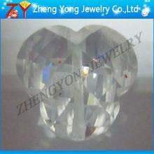 white faceted 3 point flower zirconia gemstone beads