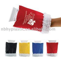 Plastic car ice scraper with glove