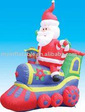Christmas santa claus in train