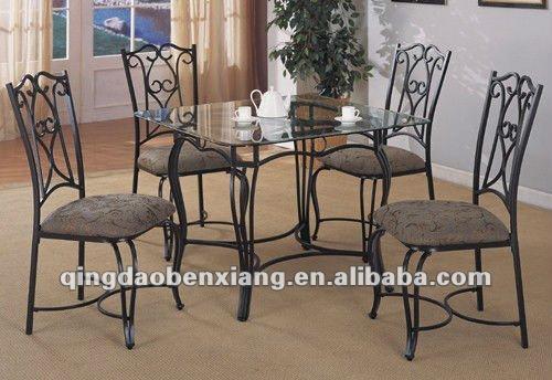 Bx forjado mesa de hierro y conjuntos para silla paquete for Mesas de hierro forjado y madera