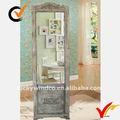 diseño de la puerta hecha a mano vintage blanco fuera de suelo de madera espejo