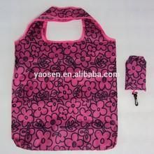 polyester purple printing mobile foldable shopping bag