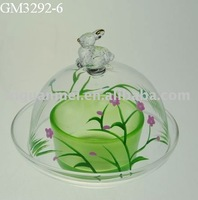 spring glass candle holder with cover