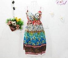 wholesale ladies lovely flower dresses summer dress women party dress no MOQ