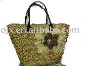 beautiful flower decorate straw beach bag