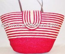 2011 fashion striped straw beach bag