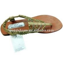 golden bead upper sandals