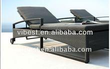 single aluminum sun lounger outside