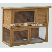 Large Outdoor 4FT Double Decker Wooden Rabbit Hutch with Plastic Floor