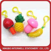 Stretch Fruit Shaped Ball Pen,fruit keychain pen,banana keychain pen