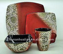 Red promotional ceramic dinnerware with handpaint