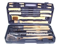 Stainless Steel BBQ Hand Tools Complete Set with 18 pcs Wooden Handle Tools and 1 Packaging Case