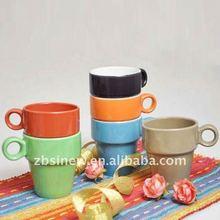 10.5 oz color glazed ceramic stackable coffee mug