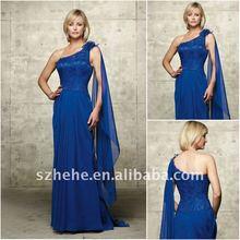 M0090 Chiffon one shoulder royal blue mother of the bride dresses