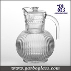 1.8L Large Volume Clear Glass Juice Pitcher/Carved Glass Jug with Lid