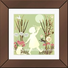 47x47 cm Brown mirror lovely children playing painting