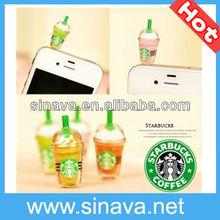 Starbucks Earphone Anti Dust Cap Plug for iPhone iPad Smart Mobile Phones