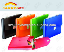 Plastic expanding file bag file case with handle