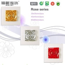 golden,silver,red rose relief painting, 3 colors per set elegant 3D decoration painting,40X40cmx3pcs