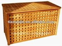 criss cross ventilation design with double cotton bags wooden bathroom laundry basket