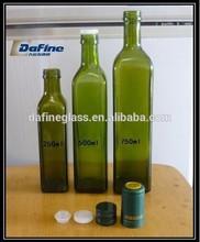 8 &16oz green color square shape glass marasca oil glass bottles olive oil bottle
