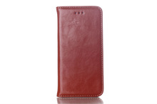 For Iphone6 Crazy Horse design Real Leather Flip case with Credit holder & magnetic pull 5colors Stocks