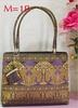 Thailand Elephant Traditional Silk Bag size M Violet Gold